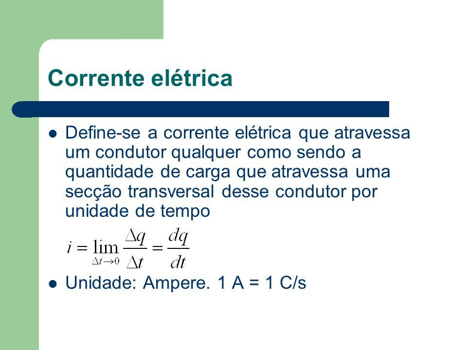 Corrente elétrica Define-se a corrente elétrica que atravessa um condutor qualquer como sendo a quantidade de carga que atravessa uma secção transvers