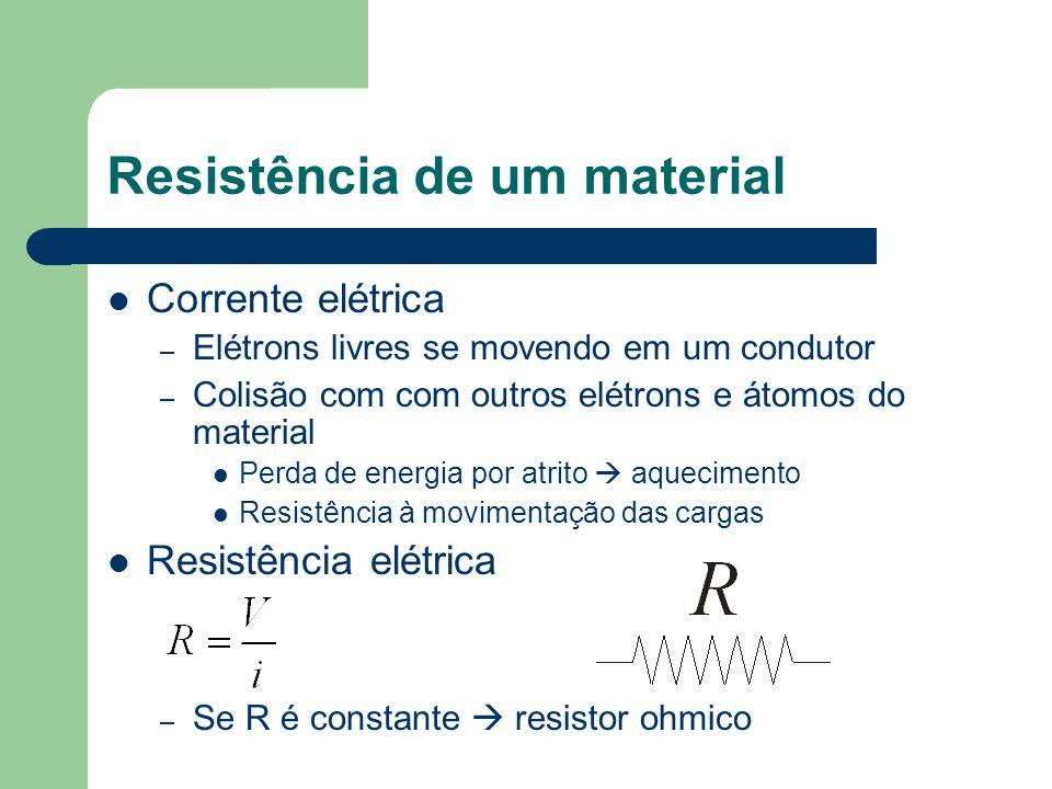 Resistência de um material Corrente elétrica – Elétrons livres se movendo em um condutor – Colisão com com outros elétrons e átomos do material Perda