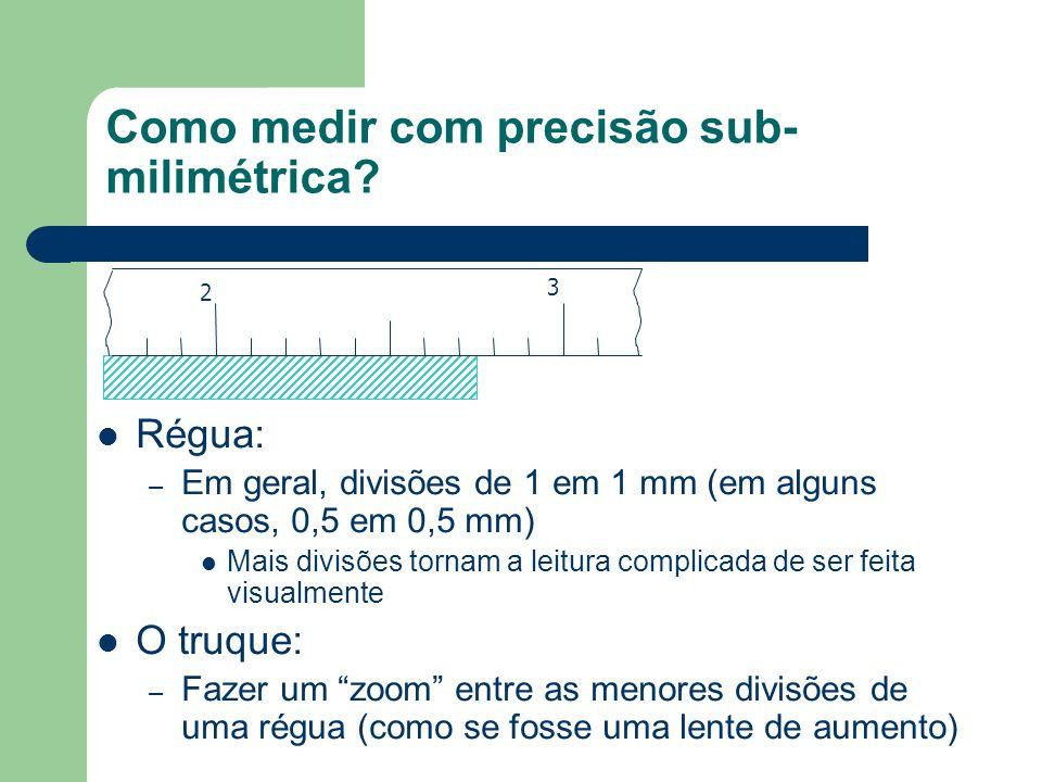 Como medir com precisão sub- milimétrica? Régua: – Em geral, divisões de 1 em 1 mm (em alguns casos, 0,5 em 0,5 mm) Mais divisões tornam a leitura com