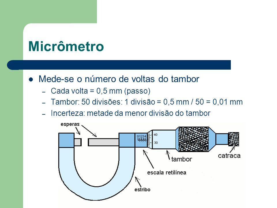 Micrômetro Mede-se o número de voltas do tambor – Cada volta = 0,5 mm (passo) – Tambor: 50 divisões: 1 divisão = 0,5 mm / 50 = 0,01 mm – Incerteza: me