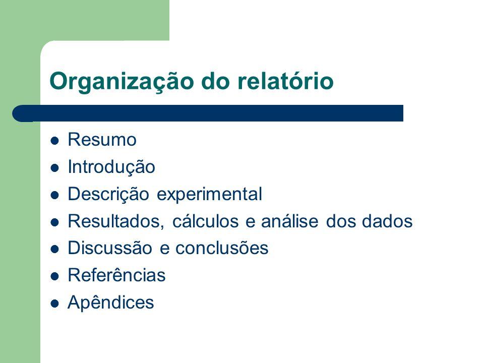 Organização do relatório Resumo Introdução Descrição experimental Resultados, cálculos e análise dos dados Discussão e conclusões Referências Apêndice