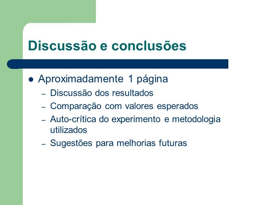 Discussão e conclusões Aproximadamente 1 página – Discussão dos resultados – Comparação com valores esperados – Auto-crítica do experimento e metodologia utilizados – Sugestões para melhorias futuras
