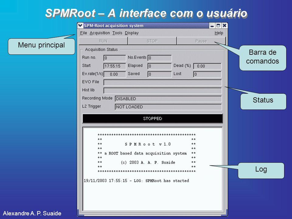 Alexandre A. P. Suaide SPMRoot – A interface com o usuário Menu principal Barra de comandos Status Log