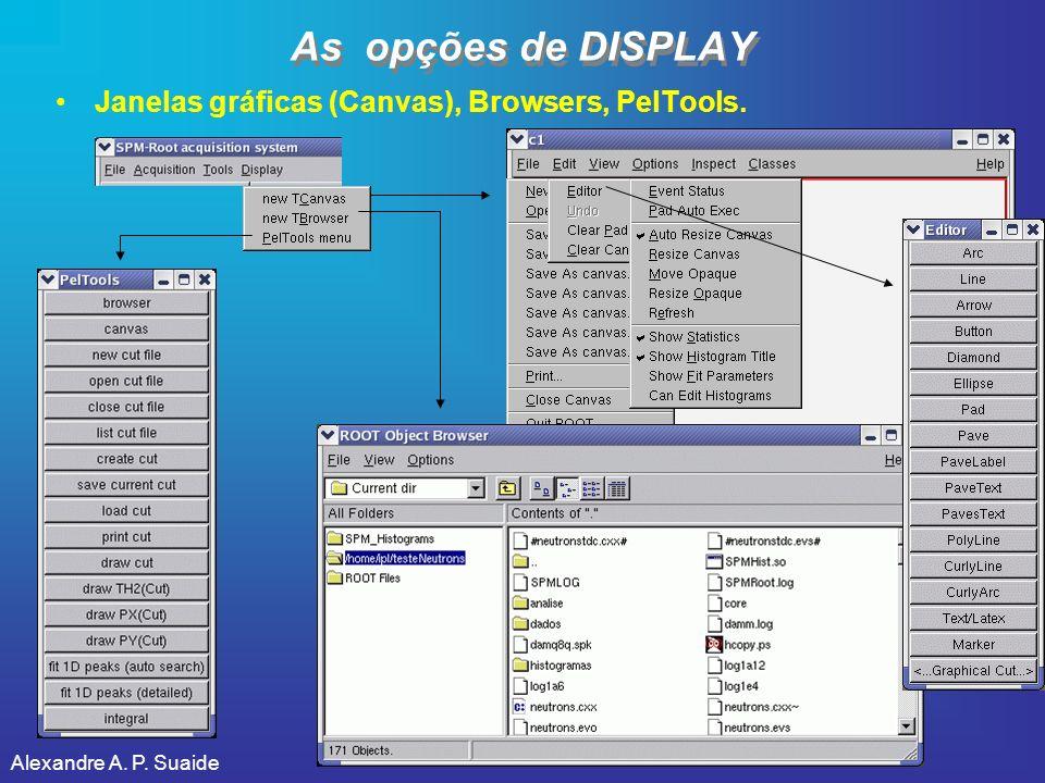 Alexandre A. P. Suaide As opções de DISPLAY Janelas gráficas (Canvas), Browsers, PelTools.