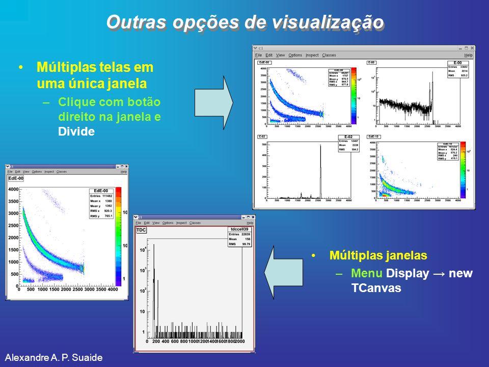 Alexandre A. P. Suaide Outras opções de visualização Múltiplas telas em uma única janela –Clique com botão direito na janela e Divide Múltiplas janela