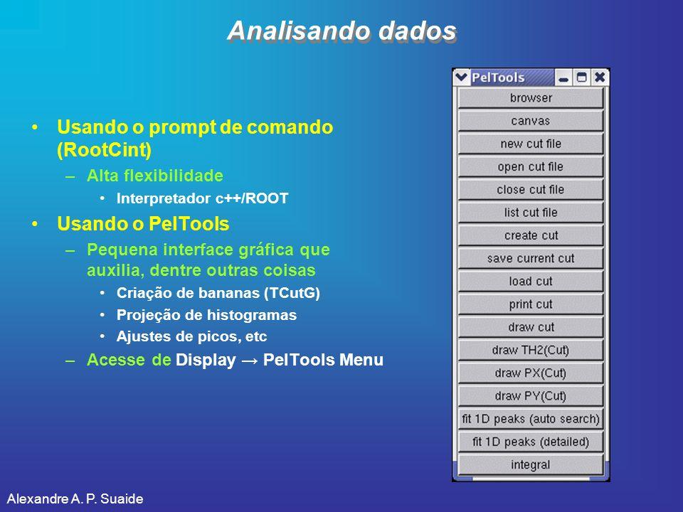 Alexandre A. P. Suaide Analisando dados Usando o prompt de comando (RootCint) –Alta flexibilidade Interpretador c++/ROOT Usando o PelTools –Pequena in