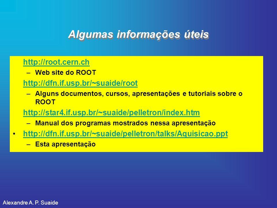 Alexandre A. P. Suaide Algumas informações úteis http://root.cern.ch –Web site do ROOT http://dfn.if.usp.br/~suaide/root –Alguns documentos, cursos, a