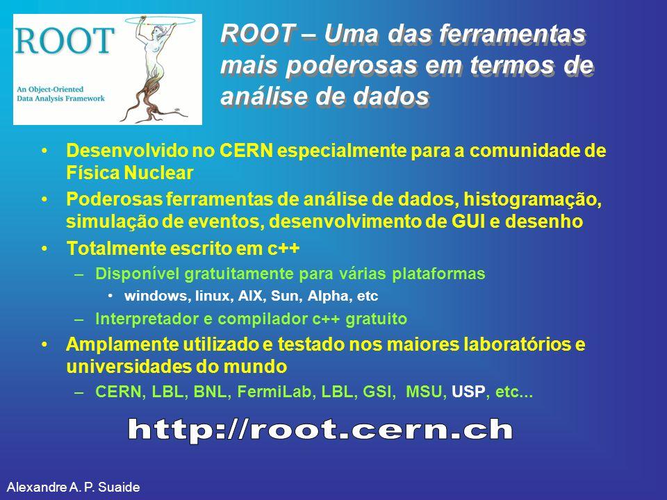 Alexandre A. P. Suaide ROOT – Uma das ferramentas mais poderosas em termos de análise de dados Desenvolvido no CERN especialmente para a comunidade de