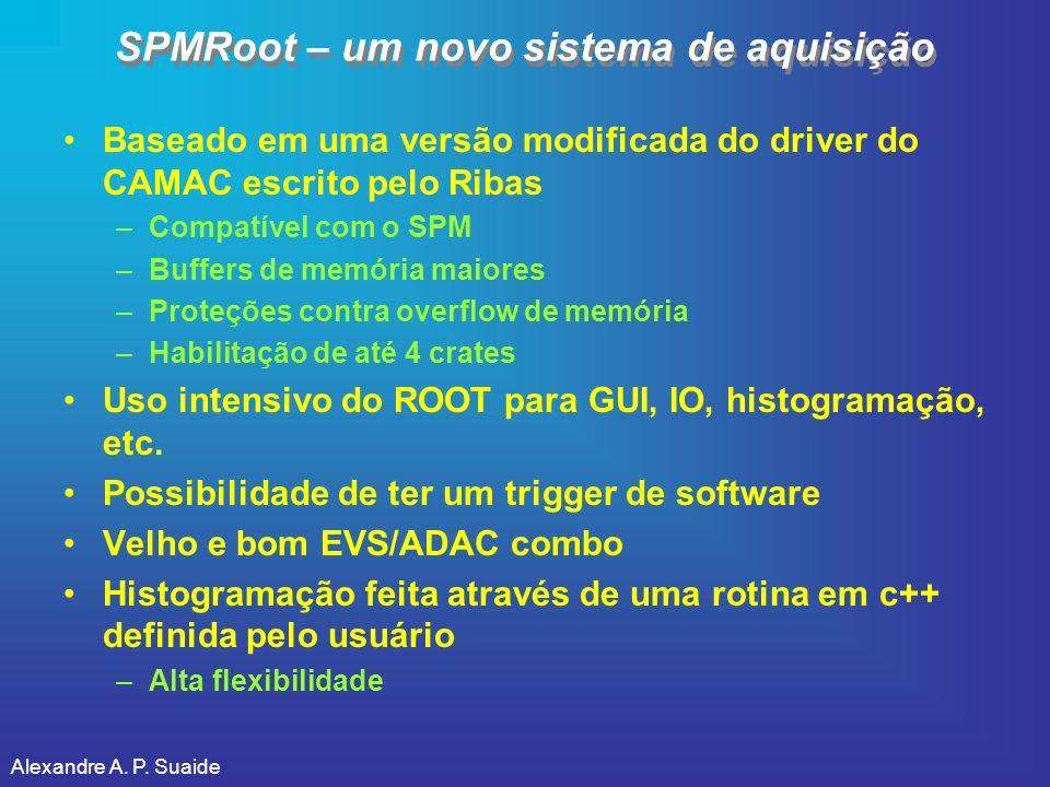 Alexandre A. P. Suaide SPMRoot – um novo sistema de aquisição Baseado em uma versão modificada do driver do CAMAC escrito pelo Ribas –Compatível com o