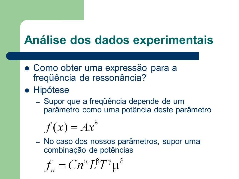 Análise dos dados experimentais Como obter uma expressão para a freqüência de ressonância? Hipótese – Supor que a freqüência depende de um parâmetro c