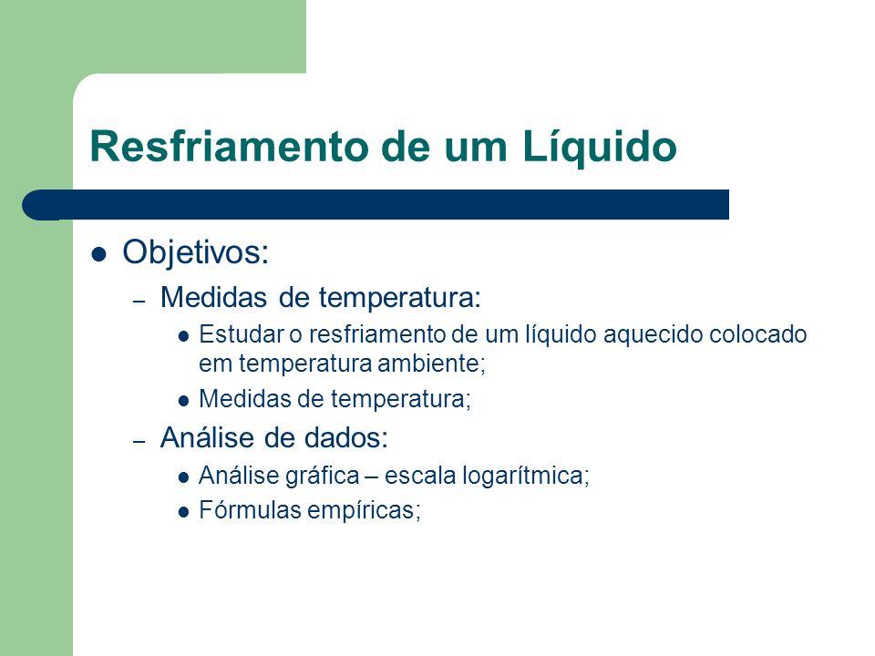 Resfriamento de um Líquido Objetivos: – Medidas de temperatura: Estudar o resfriamento de um líquido aquecido colocado em temperatura ambiente; Medida