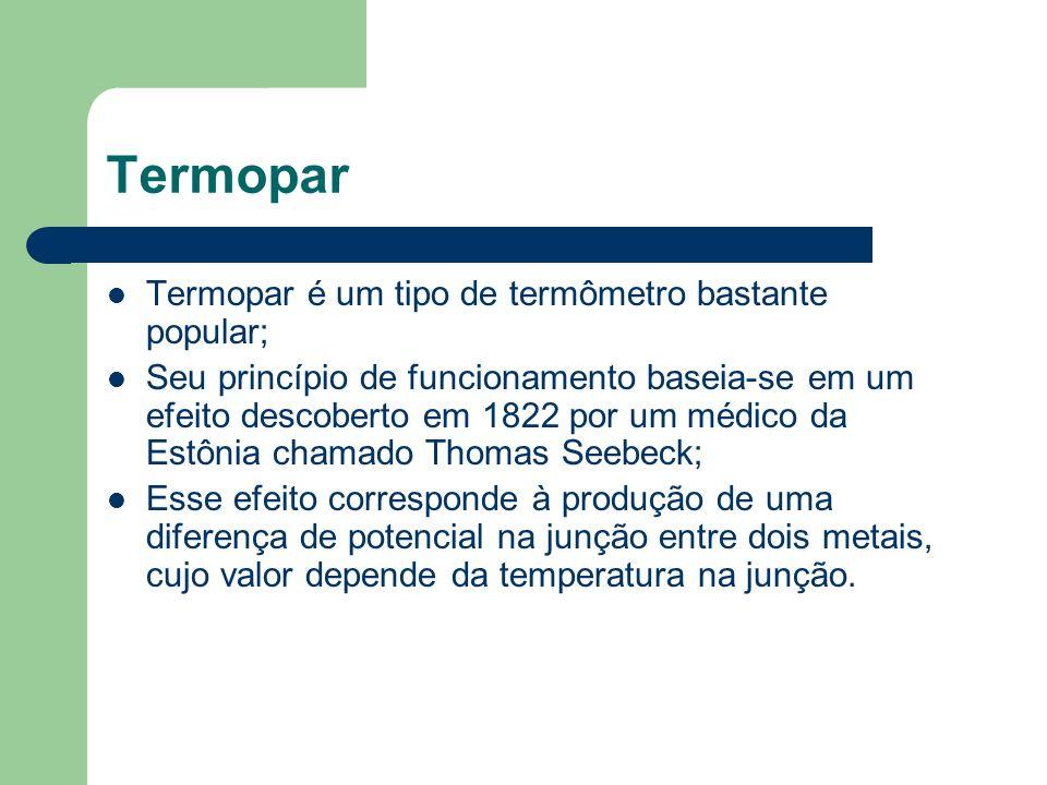 Termopar Termopar é um tipo de termômetro bastante popular; Seu princípio de funcionamento baseia-se em um efeito descoberto em 1822 por um médico da
