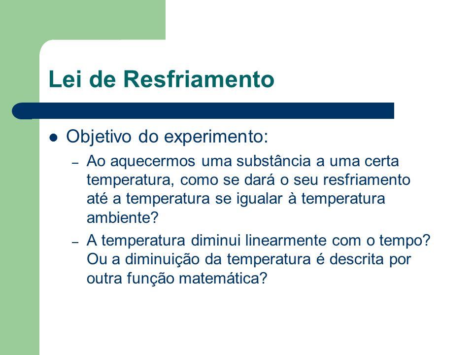 Lei de Resfriamento Objetivo do experimento: – Na ausência de um modelo, iremos estabelecer uma função matemática que descreve esse fenômeno de maneira empírica, isto é, com a ajuda dos dados.