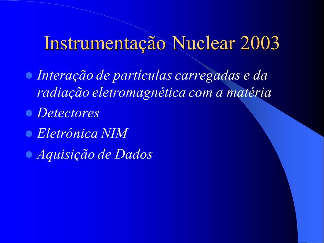 Instrumentação Nuclear 2003 Interação de partículas carregadas e da radiação eletromagnética com a matéria Detectores Eletrônica NIM Aquisição de Dados