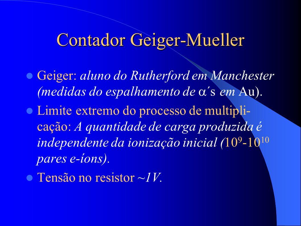Contador Geiger-Mueller Geiger: aluno do Rutherford em Manchester (medidas do espalhamento de ´s em Au).
