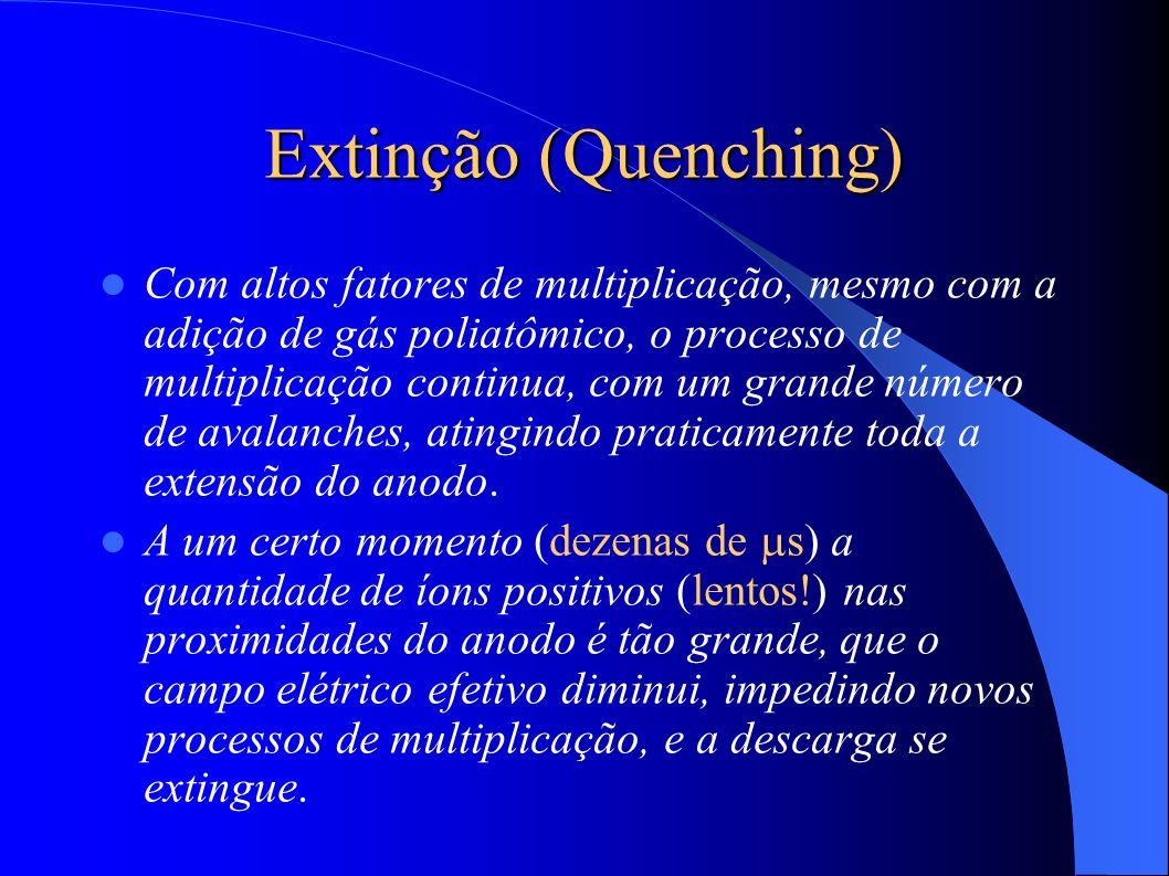 Extinção (Quenching) Com altos fatores de multiplicação, mesmo com a adição de gás poliatômico, o processo de multiplicação continua, com um grande número de avalanches, atingindo praticamente toda a extensão do anodo.