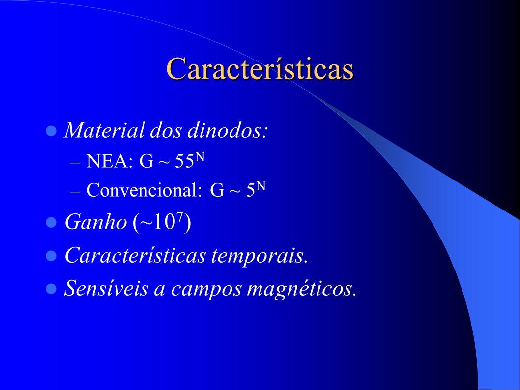 Características Material dos dinodos: – NEA: G ~ 55 N – Convencional: G ~ 5 N Ganho (~10 7 ) Características temporais.
