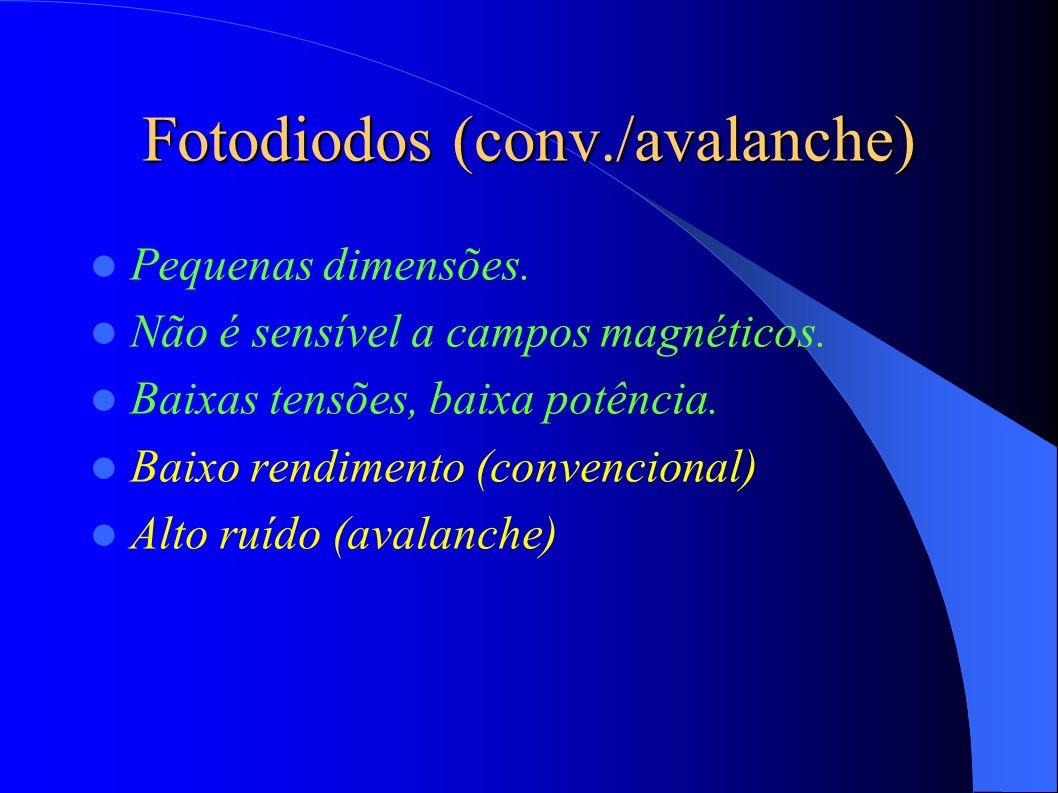 Fotodiodos (conv./avalanche) Pequenas dimensões.Não é sensível a campos magnéticos.