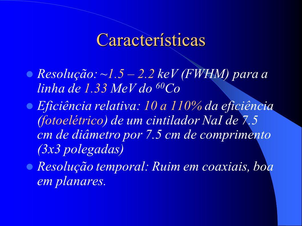 Características Resolução: ~1.5 – 2.2 keV (FWHM) para a linha de 1.33 MeV do 60 Co Eficiência relativa: 10 a 110% da eficiência (fotoelétrico) de um cintilador NaI de 7.5 cm de diâmetro por 7.5 cm de comprimento (3x3 polegadas) Resolução temporal: Ruim em coaxiais, boa em planares.