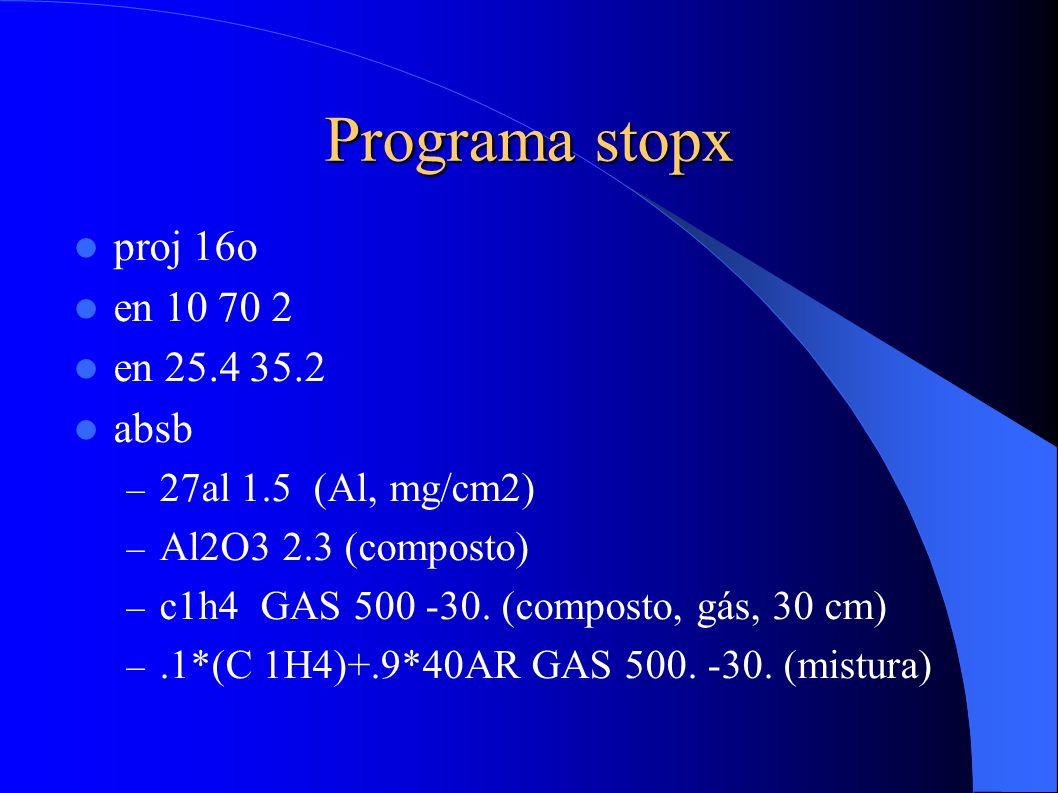 Programa stopx proj 16o en 10 70 2 en 25.4 35.2 absb – 27al 1.5 (Al, mg/cm2) – Al2O3 2.3 (composto) – c1h4 GAS 500 -30.
