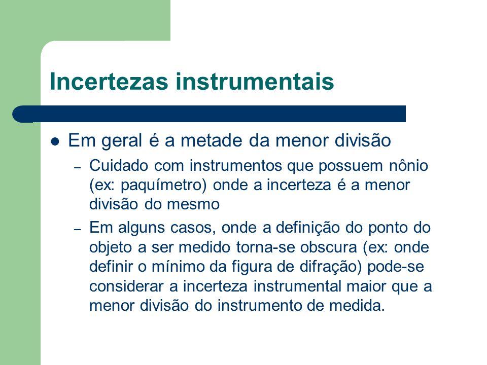 Incertezas instrumentais Em geral é a metade da menor divisão – Cuidado com instrumentos que possuem nônio (ex: paquímetro) onde a incerteza é a menor divisão do mesmo – Em alguns casos, onde a definição do ponto do objeto a ser medido torna-se obscura (ex: onde definir o mínimo da figura de difração) pode-se considerar a incerteza instrumental maior que a menor divisão do instrumento de medida.