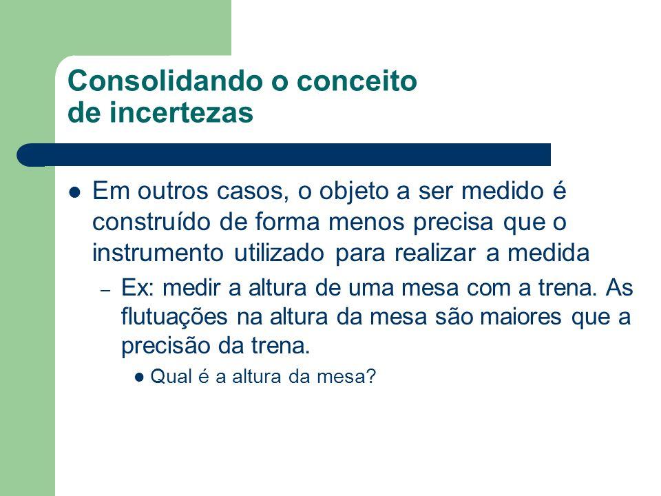 Consolidando o conceito de incertezas Em outros casos, o objeto a ser medido é construído de forma menos precisa que o instrumento utilizado para realizar a medida – Ex: medir a altura de uma mesa com a trena.