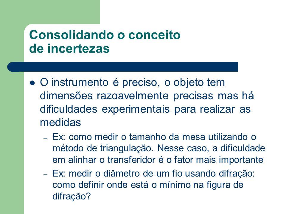 Consolidando o conceito de incertezas O instrumento é preciso, o objeto tem dimensões razoavelmente precisas mas há dificuldades experimentais para realizar as medidas – Ex: como medir o tamanho da mesa utilizando o método de triangulação.