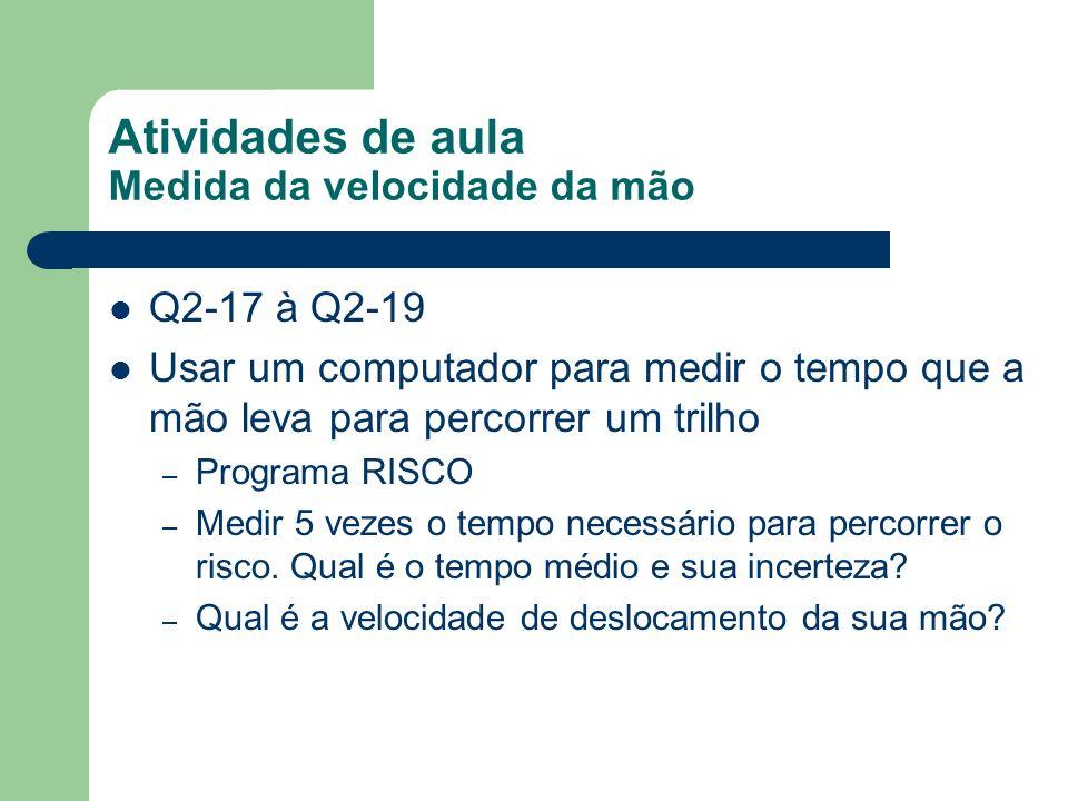Atividades de aula Medida da velocidade da mão Q2-17 à Q2-19 Usar um computador para medir o tempo que a mão leva para percorrer um trilho – Programa
