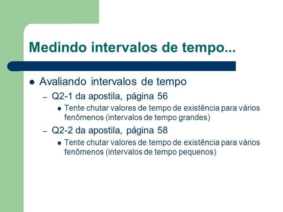 Medindo intervalos de tempo... Avaliando intervalos de tempo – Q2-1 da apostila, página 56 Tente chutar valores de tempo de existência para vários fen