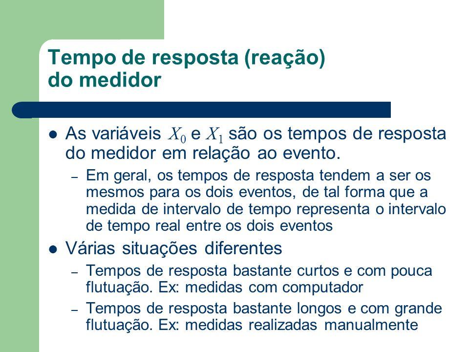 Tempo de resposta (reação) do medidor As variáveis X 0 e X 1 são os tempos de resposta do medidor em relação ao evento. – Em geral, os tempos de respo