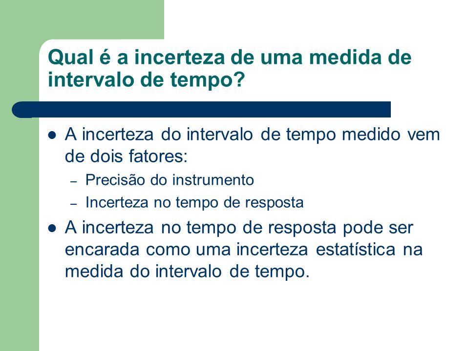 Qual é a incerteza de uma medida de intervalo de tempo? A incerteza do intervalo de tempo medido vem de dois fatores: – Precisão do instrumento – Ince