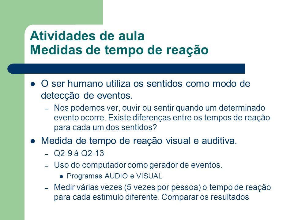 Atividades de aula Medidas de tempo de reação O ser humano utiliza os sentidos como modo de detecção de eventos. – Nos podemos ver, ouvir ou sentir qu