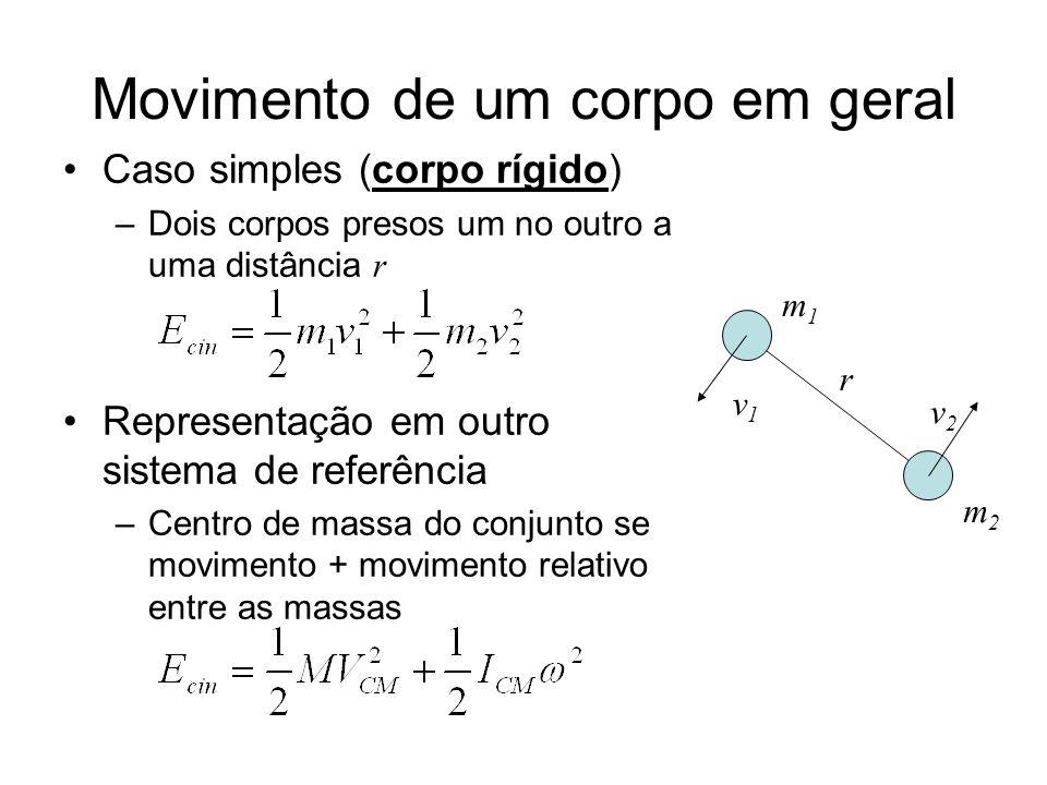 Momento de inércia Análogo da massa para rotações –Energia rotacional em um movimento Cálculo de momento de inércia –Sistema de partículas pontuais –No caso particular de dois corpos, se eles estiverem girando centrados em O r v1v1 v2v2 m2m2 m1m1 O r2r2 r1r1