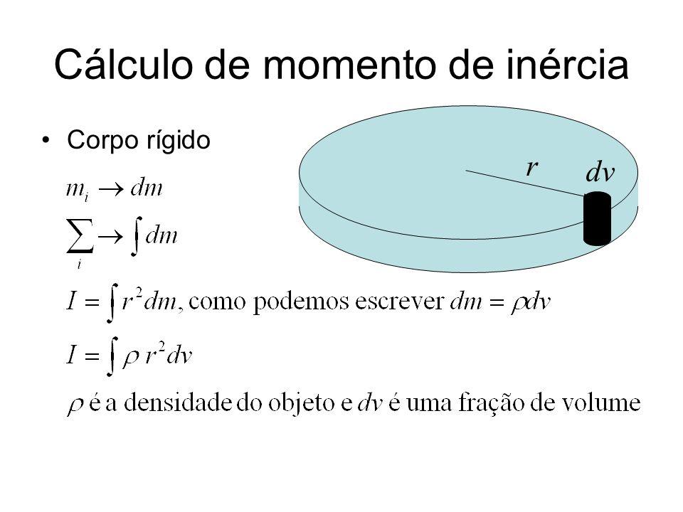 Exemplo cilindro de raio R e altura h, girando em torno do seu eixo de simetria com densidade uniforme r dv