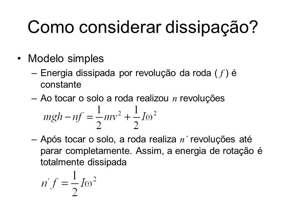 Como considerar dissipação? Modelo simples –Energia dissipada por revolução da roda ( f ) é constante –Ao tocar o solo a roda realizou n revoluções –A