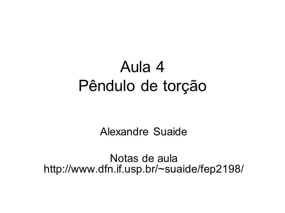 Aula 4 Pêndulo de torção Alexandre Suaide Notas de aula http://www.dfn.if.usp.br/~suaide/fep2198/