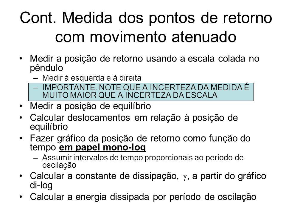 Cont. Medida dos pontos de retorno com movimento atenuado Medir a posição de retorno usando a escala colada no pêndulo –Medir à esquerda e à direita –
