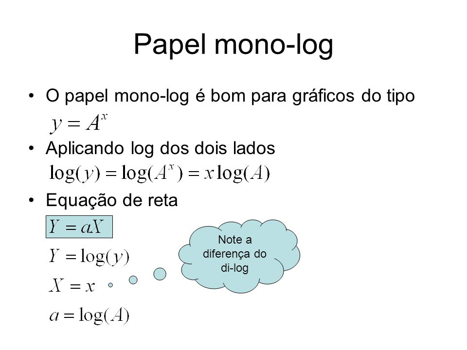 Papel mono-log O papel mono-log é bom para gráficos do tipo Aplicando log dos dois lados Equação de reta Note a diferença do di-log