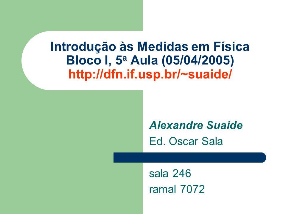 Alexandre Suaide Ed. Oscar Sala sala 246 ramal 7072 Introdução às Medidas em Física Bloco I, 5 a Aula (05/04/2005) http://dfn.if.usp.br/~suaide/