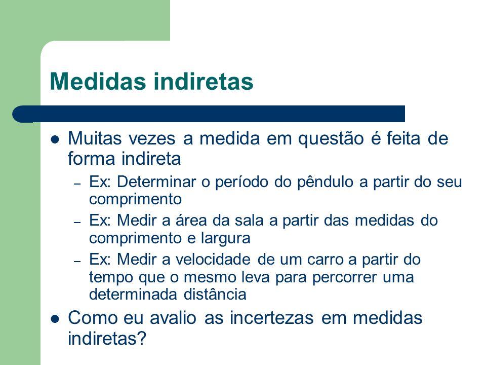 Medidas indiretas Muitas vezes a medida em questão é feita de forma indireta – Ex: Determinar o período do pêndulo a partir do seu comprimento – Ex: M