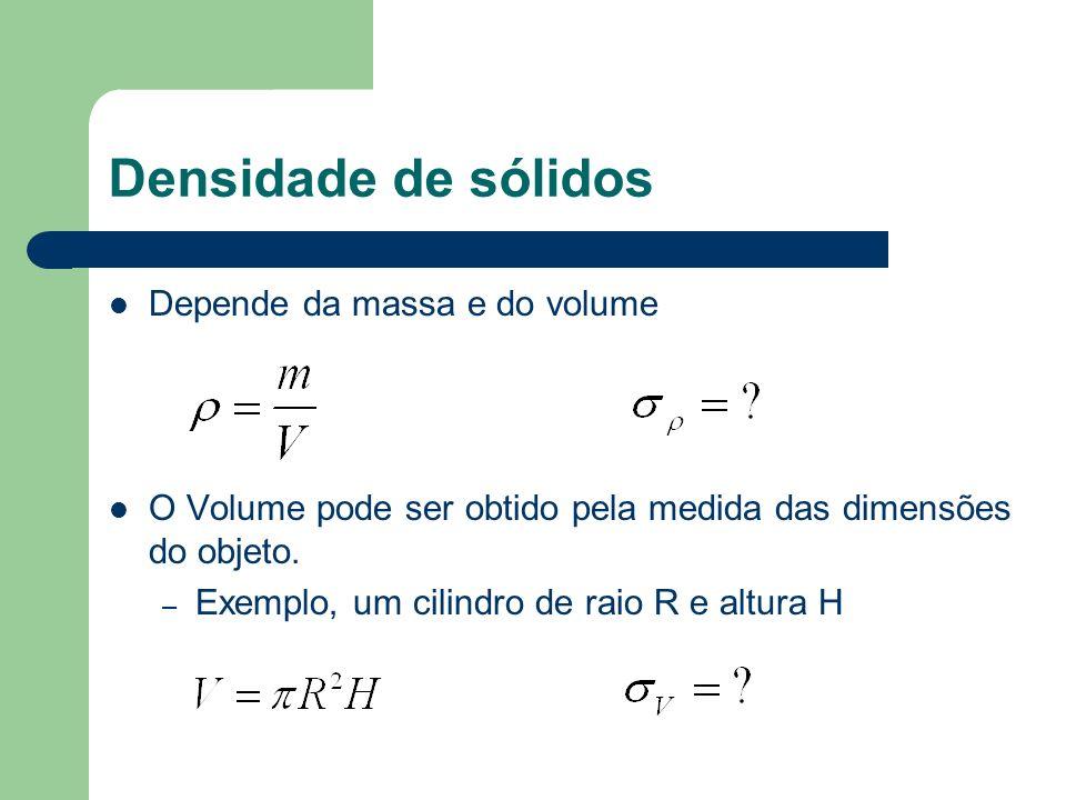 Densidade de sólidos Depende da massa e do volume O Volume pode ser obtido pela medida das dimensões do objeto. – Exemplo, um cilindro de raio R e alt