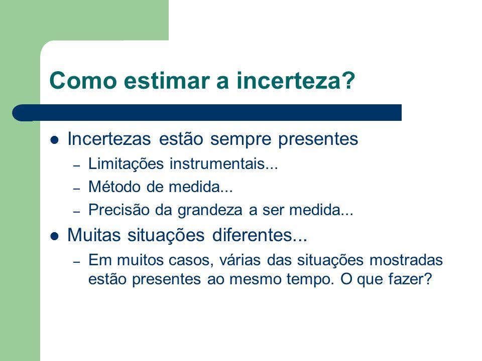 Tipos de incerteza Instrumental e/ou devido à metodologia – Aquelas devida à precisão do instrumento é método utilizado para realizar a medida direta de uma grandeza Estatística – Incerteza devido à repetição de uma mesma medida Sistemática – Aquelas onde a medida é desviada em uma única direção, tornando os resultados viciados
