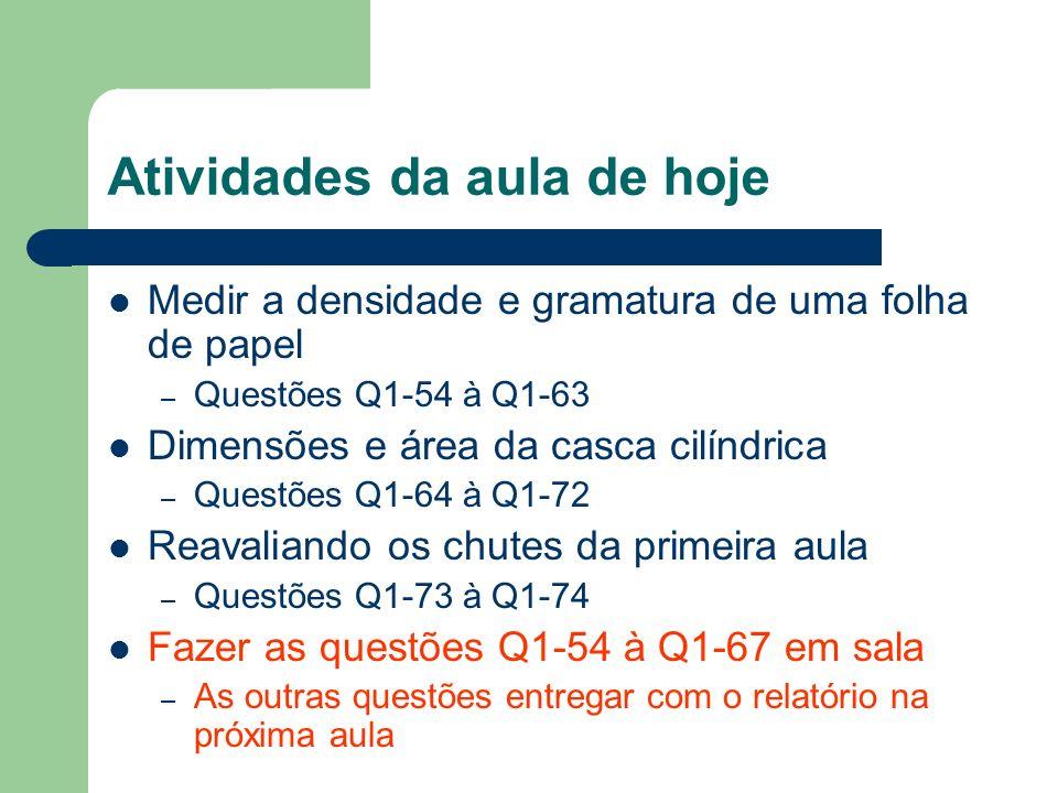 Atividades da aula de hoje Medir a densidade e gramatura de uma folha de papel – Questões Q1-54 à Q1-63 Dimensões e área da casca cilíndrica – Questõe