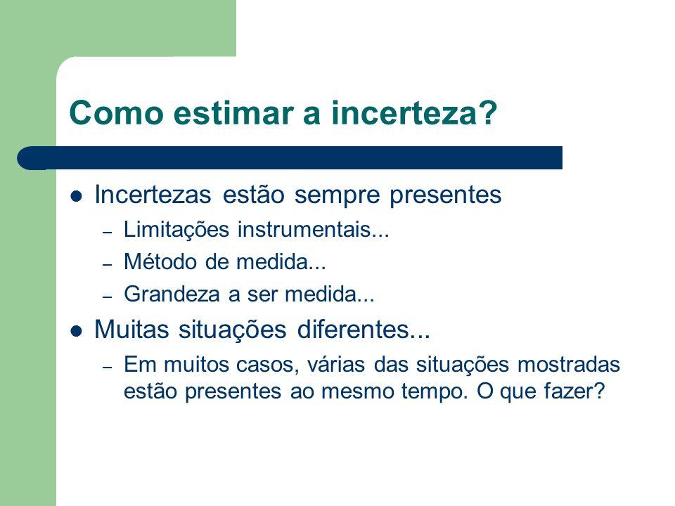 Como estimar a incerteza? Incertezas estão sempre presentes – Limitações instrumentais... – Método de medida... – Grandeza a ser medida... Muitas situ