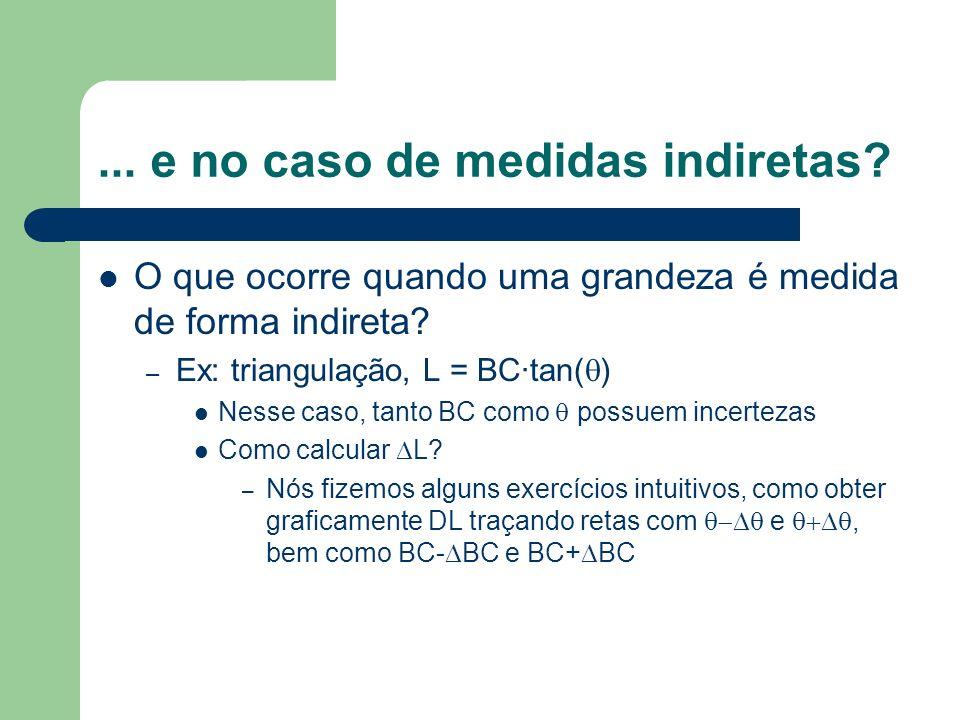 ... e no caso de medidas indiretas? O que ocorre quando uma grandeza é medida de forma indireta? – Ex: triangulação, L = BC·tan( ) Nesse caso, tanto B