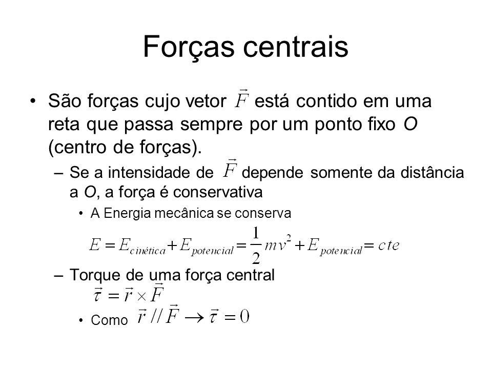 Momento angular Todo movimento sobre ação de uma força central é bidimensional –Plano definido pela força e velocidade Momento angular –Variação no tempo
