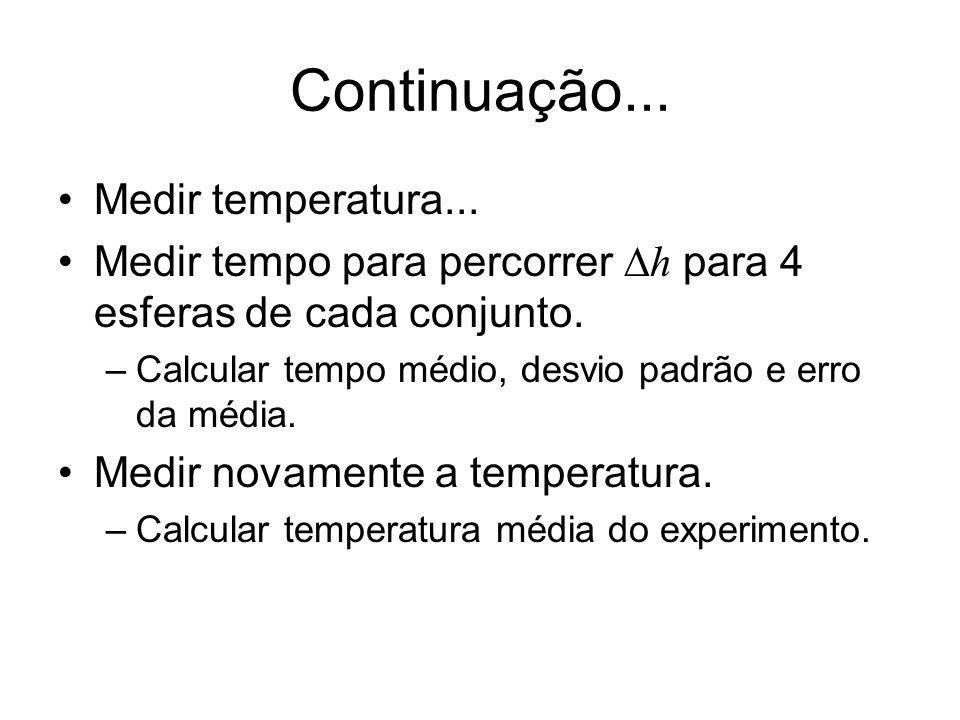 Continuação... Medir temperatura... Medir tempo para percorrer h para 4 esferas de cada conjunto. –Calcular tempo médio, desvio padrão e erro da média
