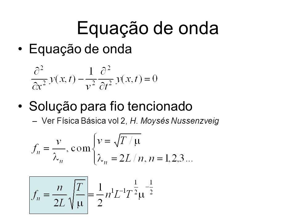 Determinar experimentalmente uma expressão para f n Determinar dependência de f n com n, L, T e Método –Fixar todos os parâmetros e variar apenas um deles –Exemplo: determinar dependência com n Fixar L, T e