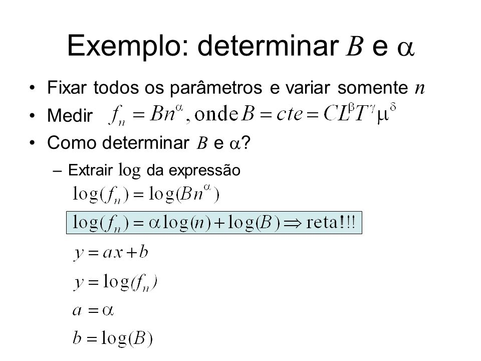 Resolvendo graficamente Papel milimetrado –Fazer gráfico de log(f n ) vs log(n) –Coeficiente angular é –Coeficiente linear é log(B) –Não esquecer erros log(f n ) log(n) log(B) Retas auxiliares para estimar incertezas x = log(n 1 )-log(n 0 ) y = log(f 1 )-log(f 0 )