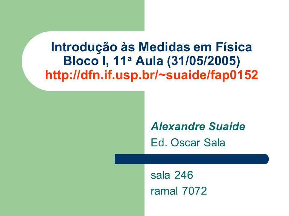 Alexandre Suaide Ed. Oscar Sala sala 246 ramal 7072 Introdução às Medidas em Física Bloco I, 11 a Aula (31/05/2005) http://dfn.if.usp.br/~suaide/fap01